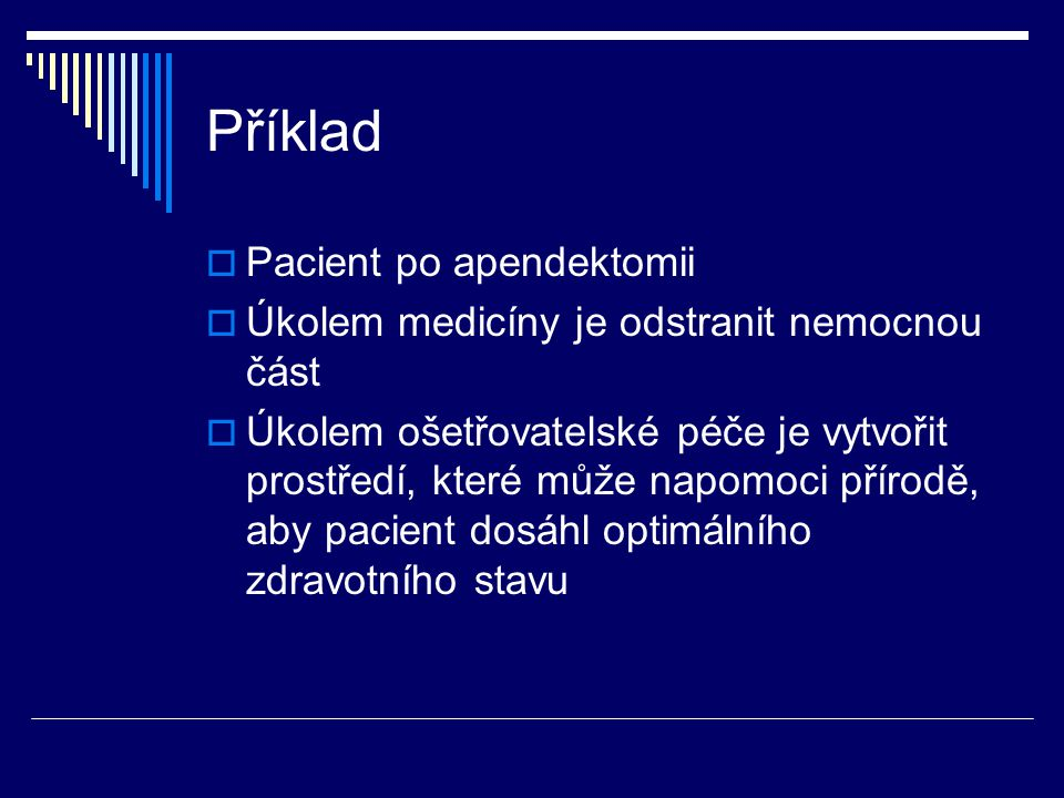 Příklad Pacient po apendektomii