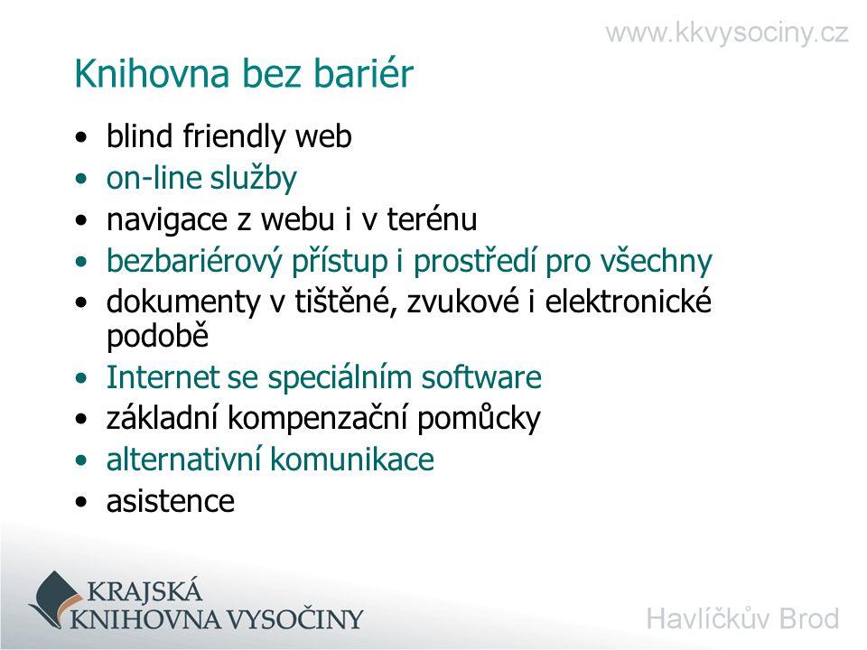 Knihovna bez bariér blind friendly web on-line služby