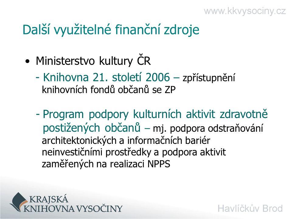 Další využitelné finanční zdroje