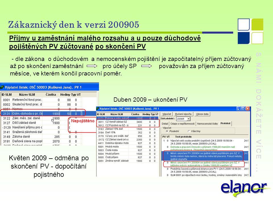 Květen 2009 – odměna po skončení PV - dopočítání pojistného