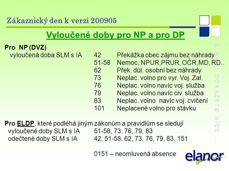 Vyloučené doby pro NP a pro DP