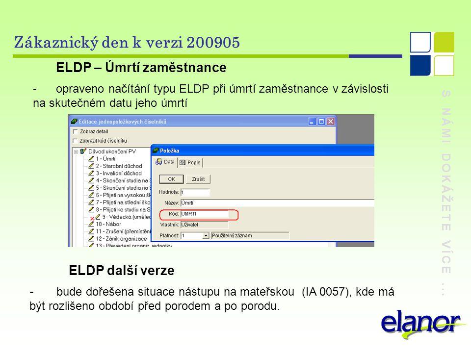 Zákaznický den k verzi 200905 ELDP – Úmrtí zaměstnance