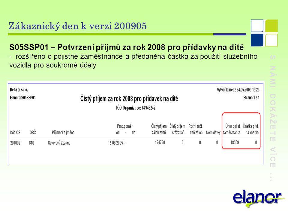 Zákaznický den k verzi 200905 S05SSP01 – Potvrzení příjmů za rok 2008 pro přídavky na dítě.