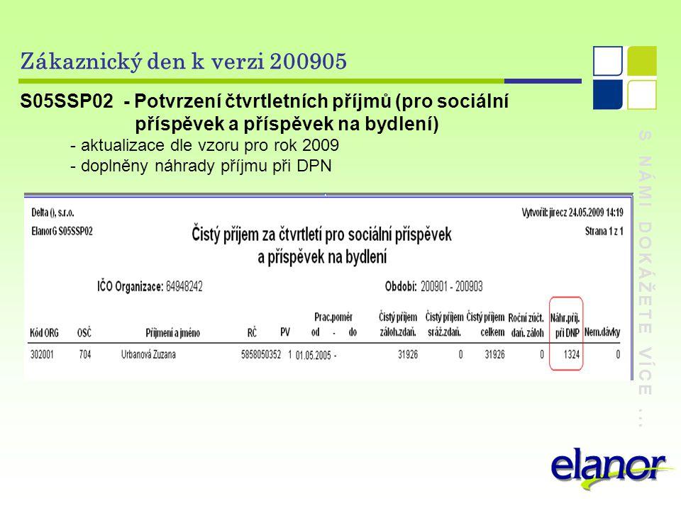 Zákaznický den k verzi 200905 S05SSP02 - Potvrzení čtvrtletních příjmů (pro sociální. příspěvek a příspěvek na bydlení)