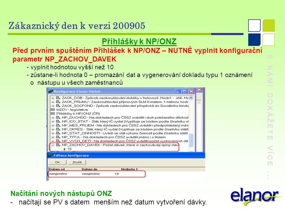 Zákaznický den k verzi 200905 Přihlášky k NP/ONZ