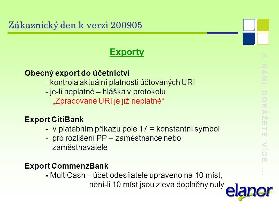 Zákaznický den k verzi 200905 Exporty Obecný export do účetnictví
