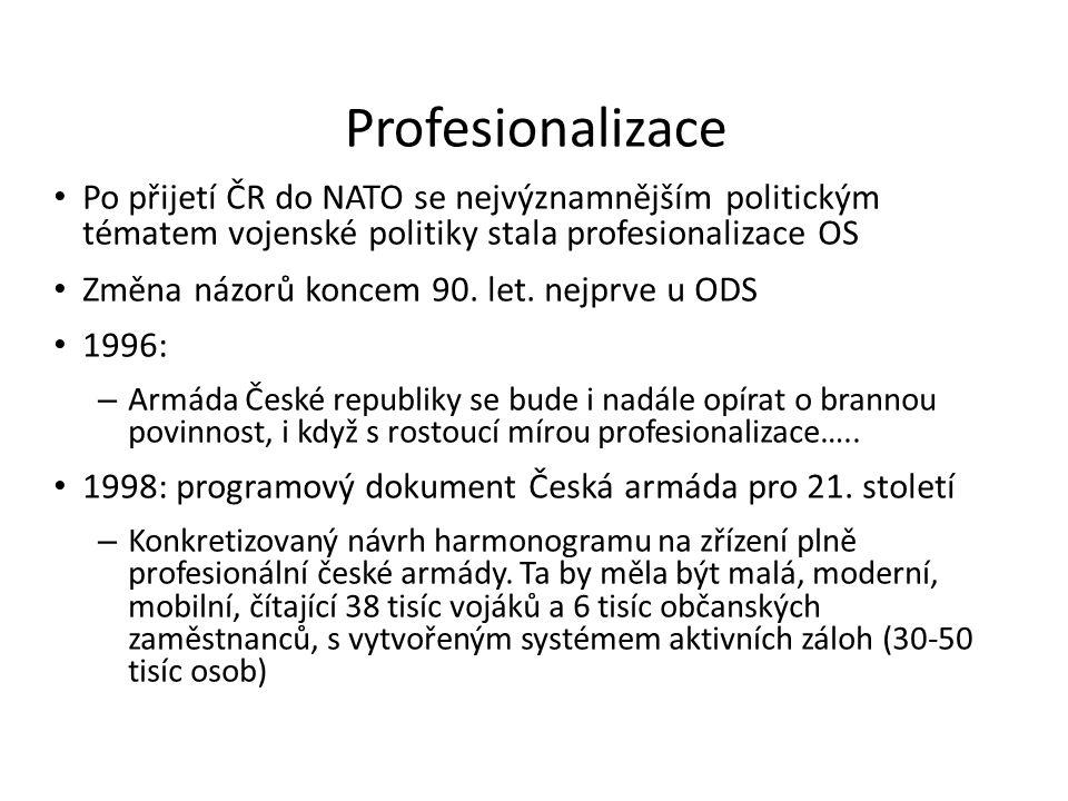 Profesionalizace Po přijetí ČR do NATO se nejvýznamnějším politickým tématem vojenské politiky stala profesionalizace OS.