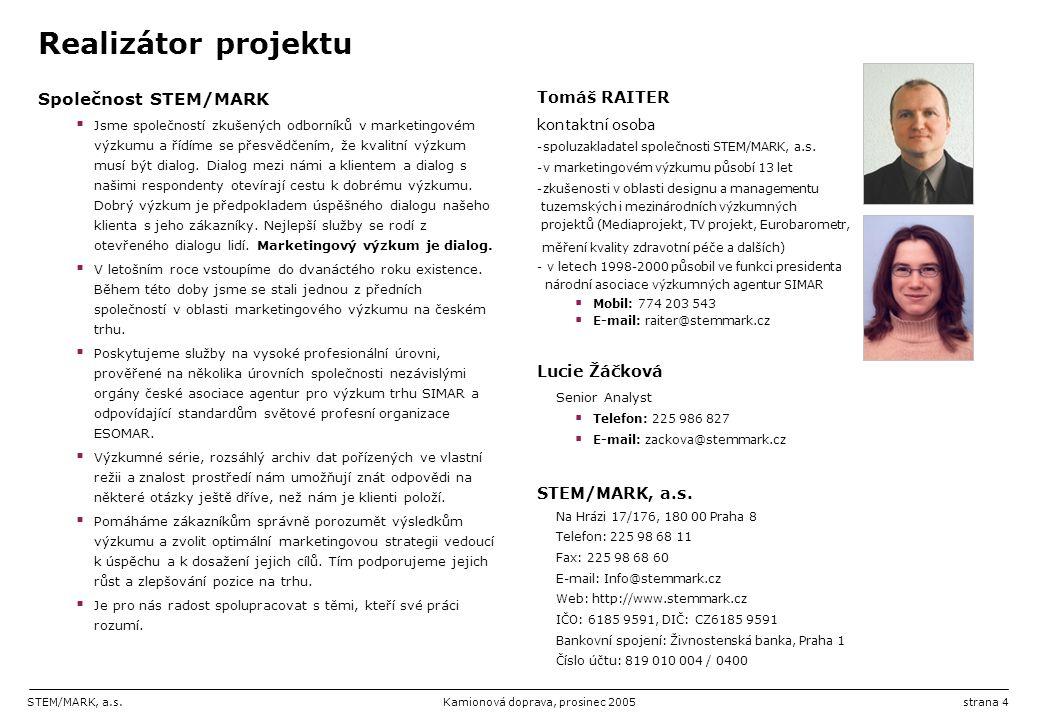Realizátor projektu Společnost STEM/MARK Tomáš RAITER Lucie Žáčková