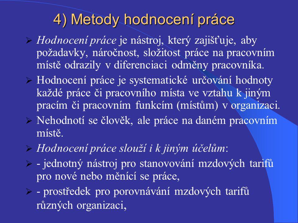 4) Metody hodnocení práce