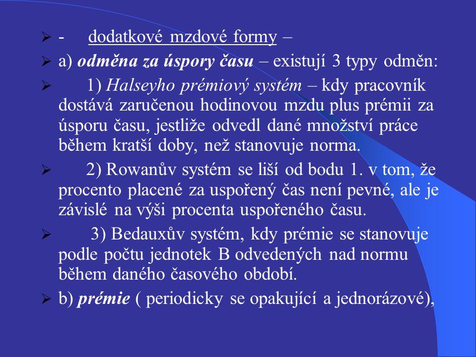 - dodatkové mzdové formy –