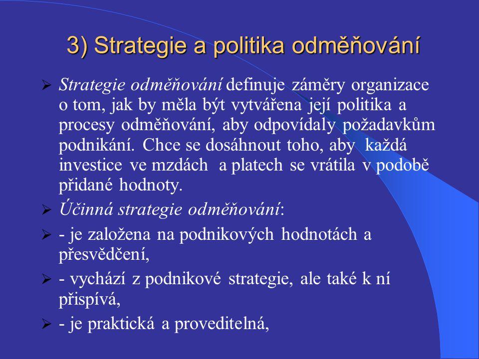 3) Strategie a politika odměňování