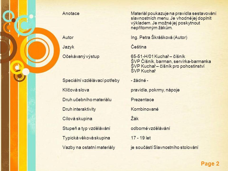 Anotace. Materiál poukazuje na pravidla sestavování. slavnostních menu