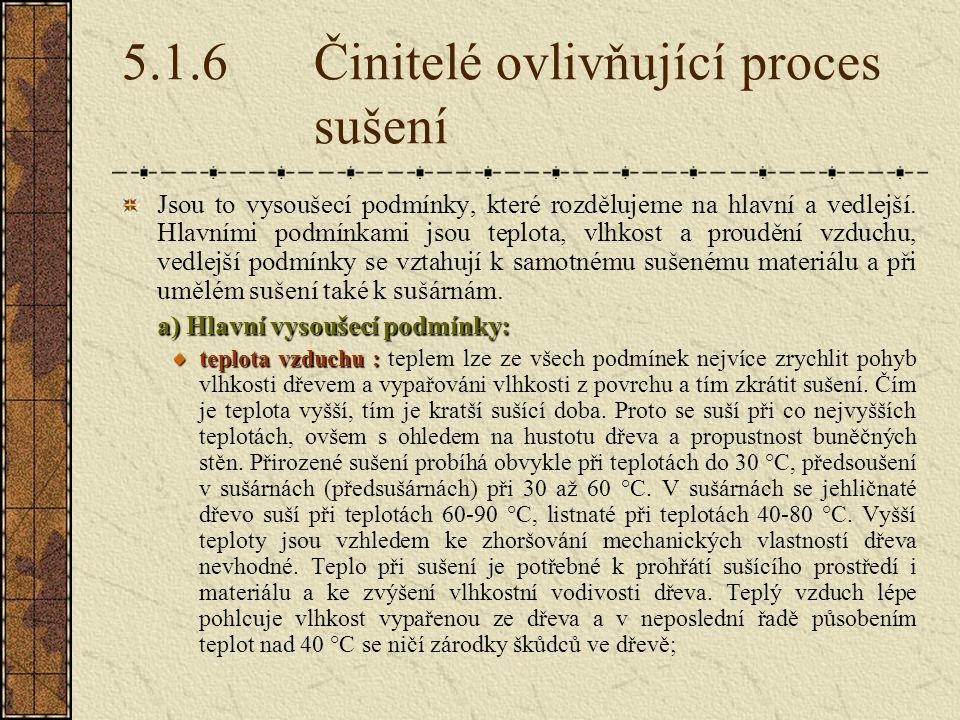 5.1.6 Činitelé ovlivňující proces sušení
