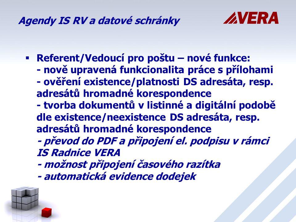 Agendy IS RV a datové schránky