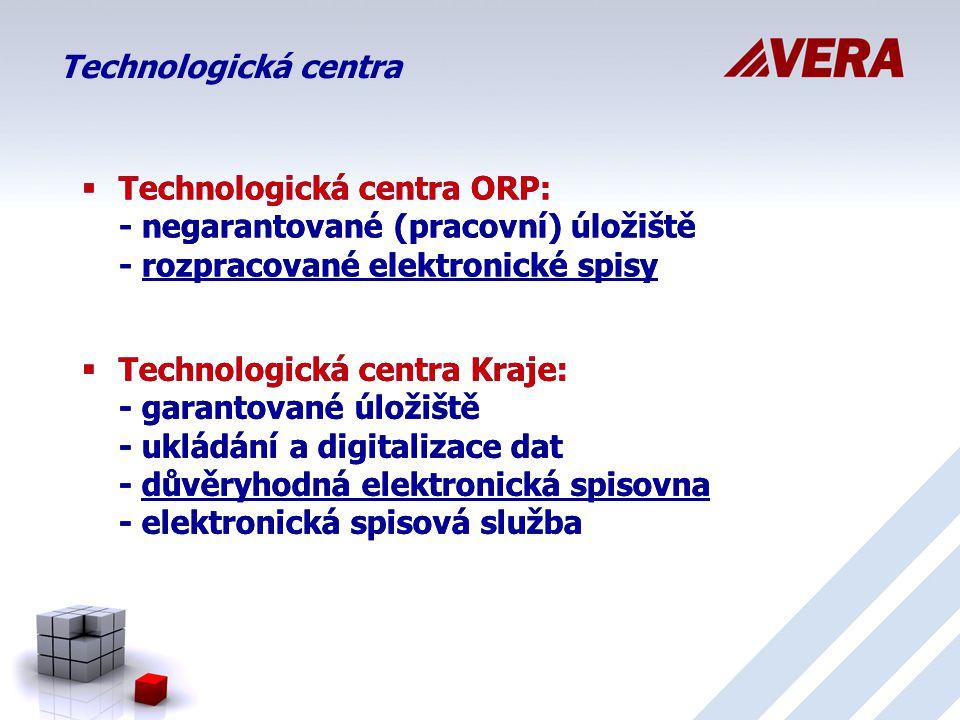 Technologická centra Technologická centra ORP: - negarantované (pracovní) úložiště - rozpracované elektronické spisy.