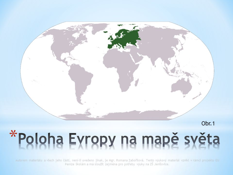 Poloha Evropy na mapě světa