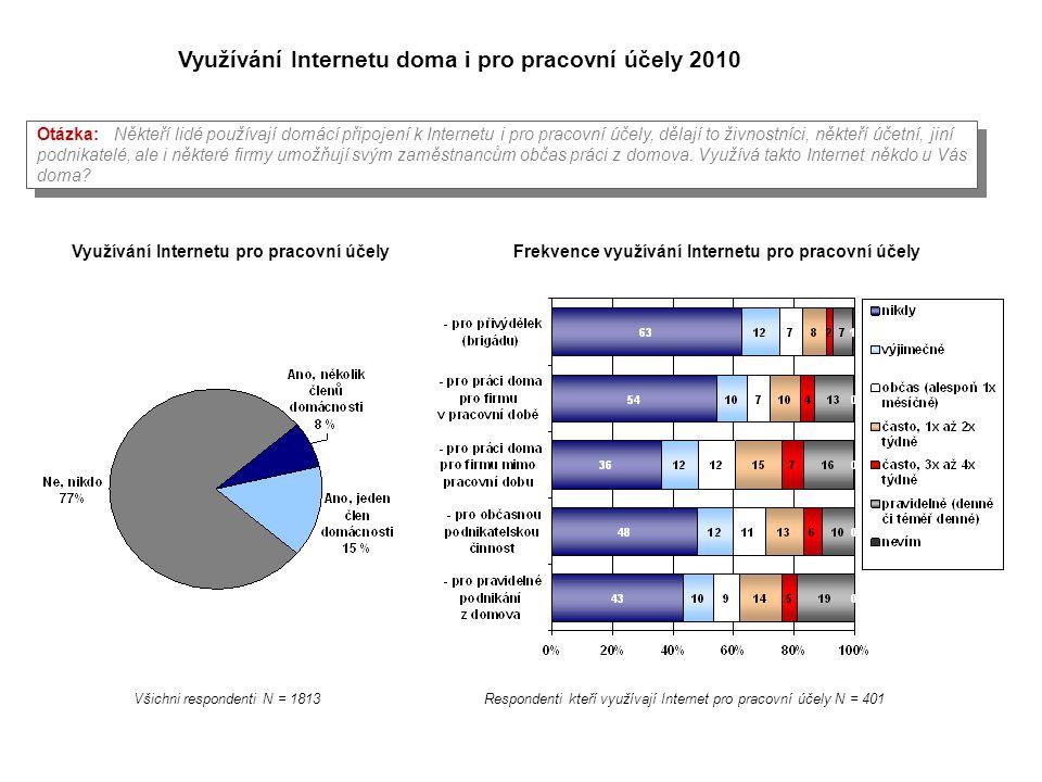 Využívání Internetu doma i pro pracovní účely 2010