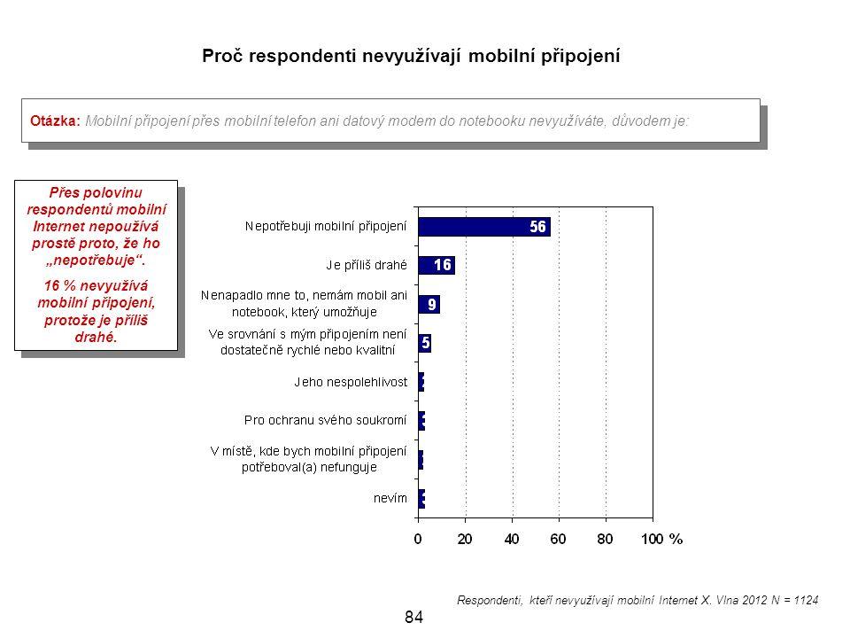Proč respondenti nevyužívají mobilní připojení
