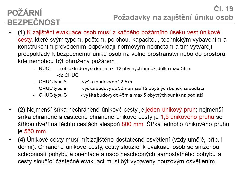 Čl. 19 Požadavky na zajištění úniku osob