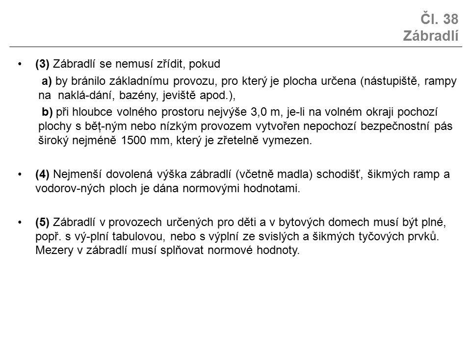 Čl. 38 Zábradlí (3) Zábradlí se nemusí zřídit, pokud