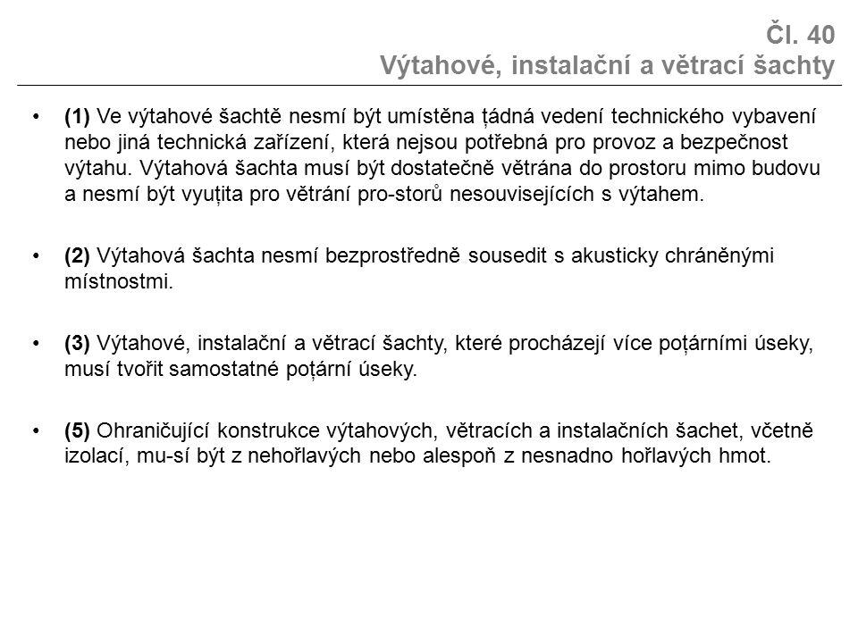 Čl. 40 Výtahové, instalační a větrací šachty