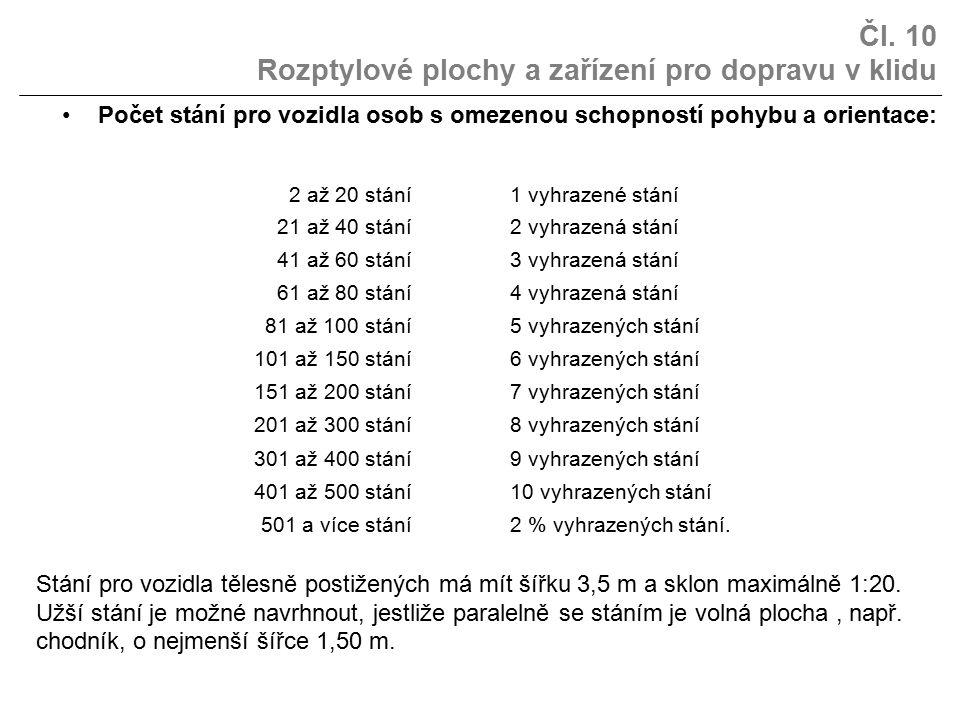 Čl. 10 Rozptylové plochy a zařízení pro dopravu v klidu