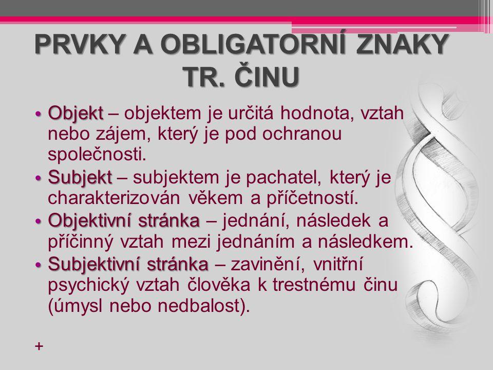 PRVKY A OBLIGATORNÍ ZNAKY TR. ČINU