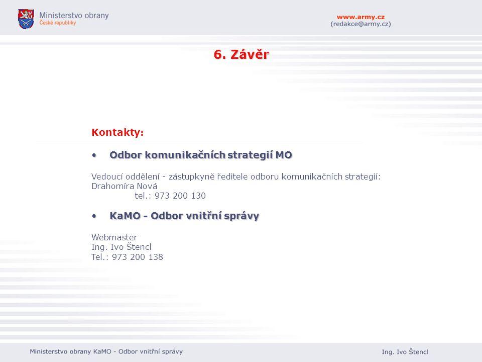6. Závěr Kontakty: Odbor komunikačních strategií MO