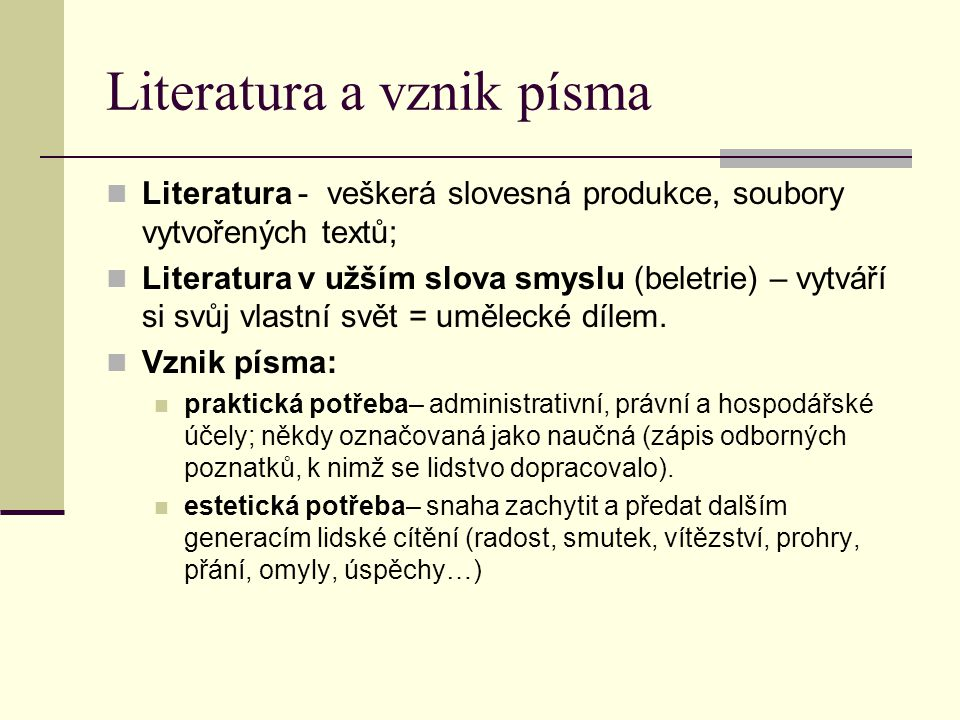 Literatura a vznik písma