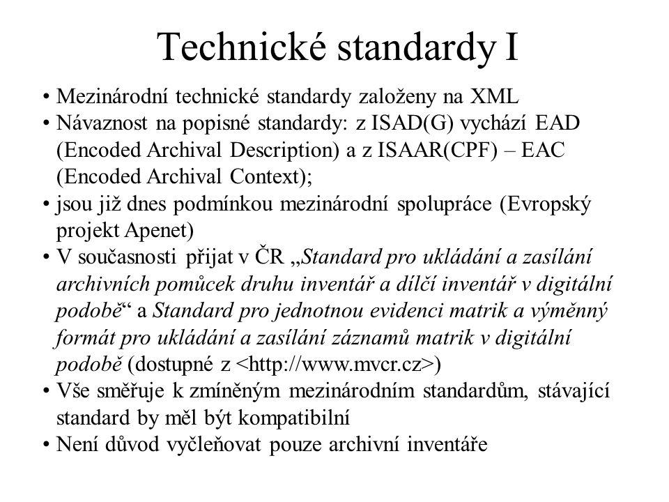 Technické standardy I Mezinárodní technické standardy založeny na XML