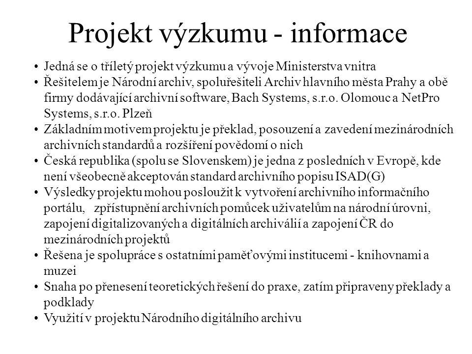Projekt výzkumu - informace