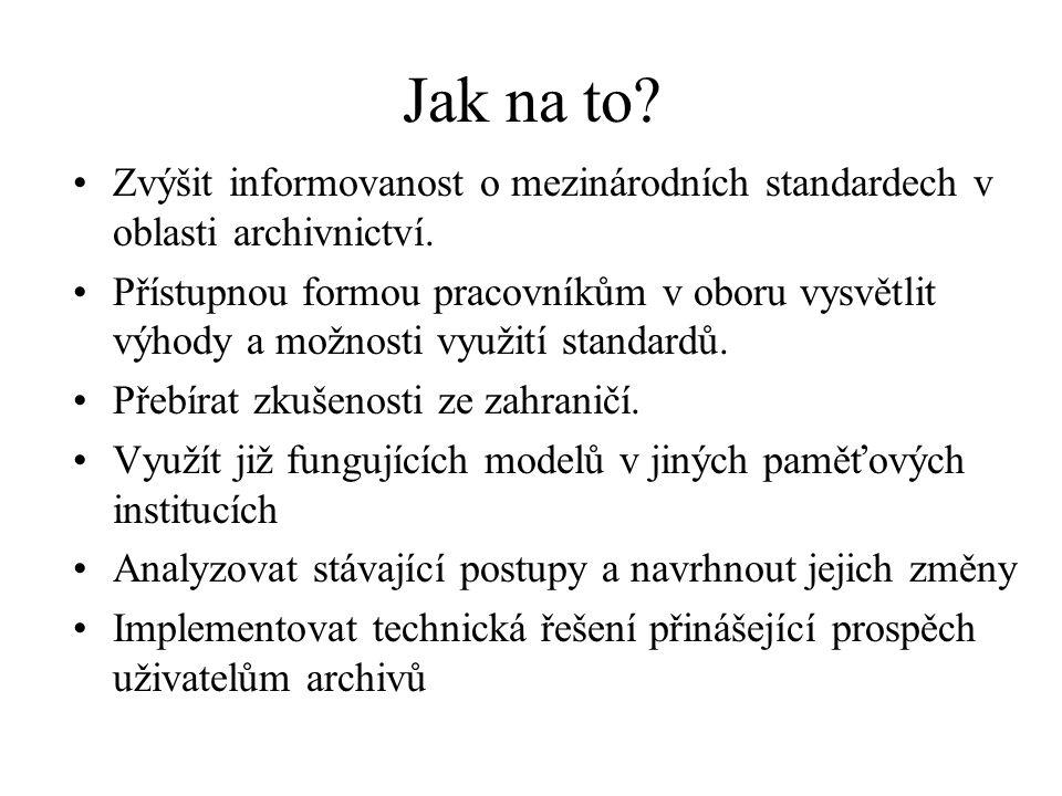 Jak na to Zvýšit informovanost o mezinárodních standardech v oblasti archivnictví.