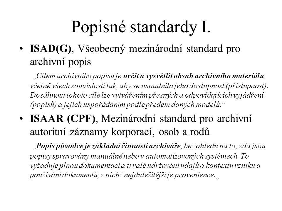 Popisné standardy I.