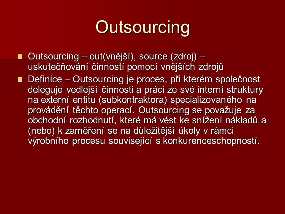Outsourcing Outsourcing – out(vnější), source (zdroj) – uskutečňování činností pomocí vnějších zdrojů.