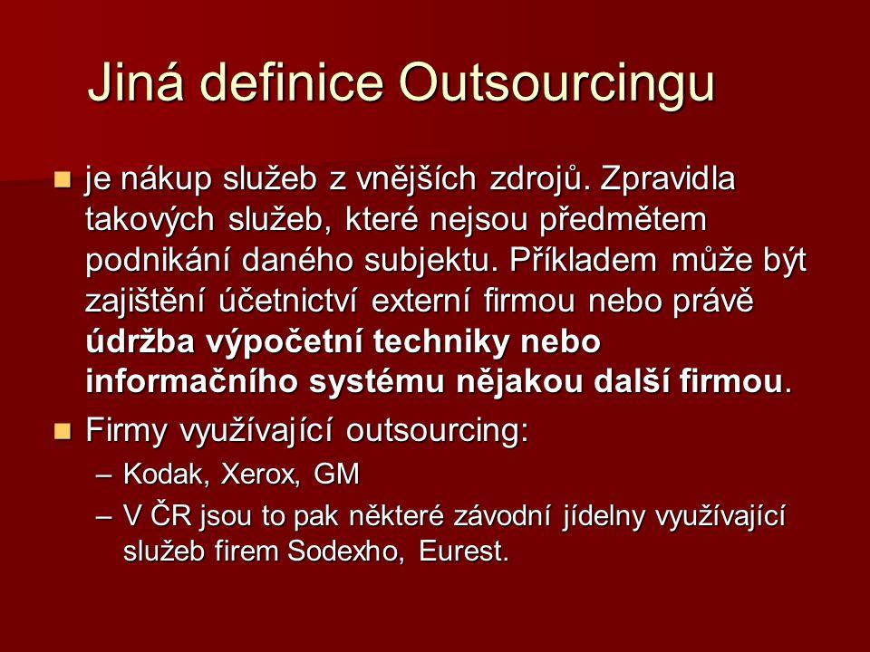 Jiná definice Outsourcingu