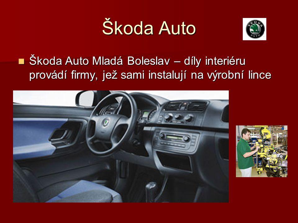Škoda Auto Škoda Auto Mladá Boleslav – díly interiéru provádí firmy, jež sami instalují na výrobní lince.