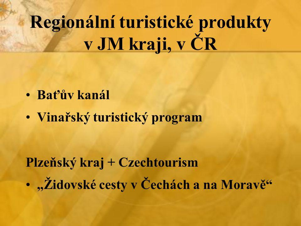 Regionální turistické produkty v JM kraji, v ČR