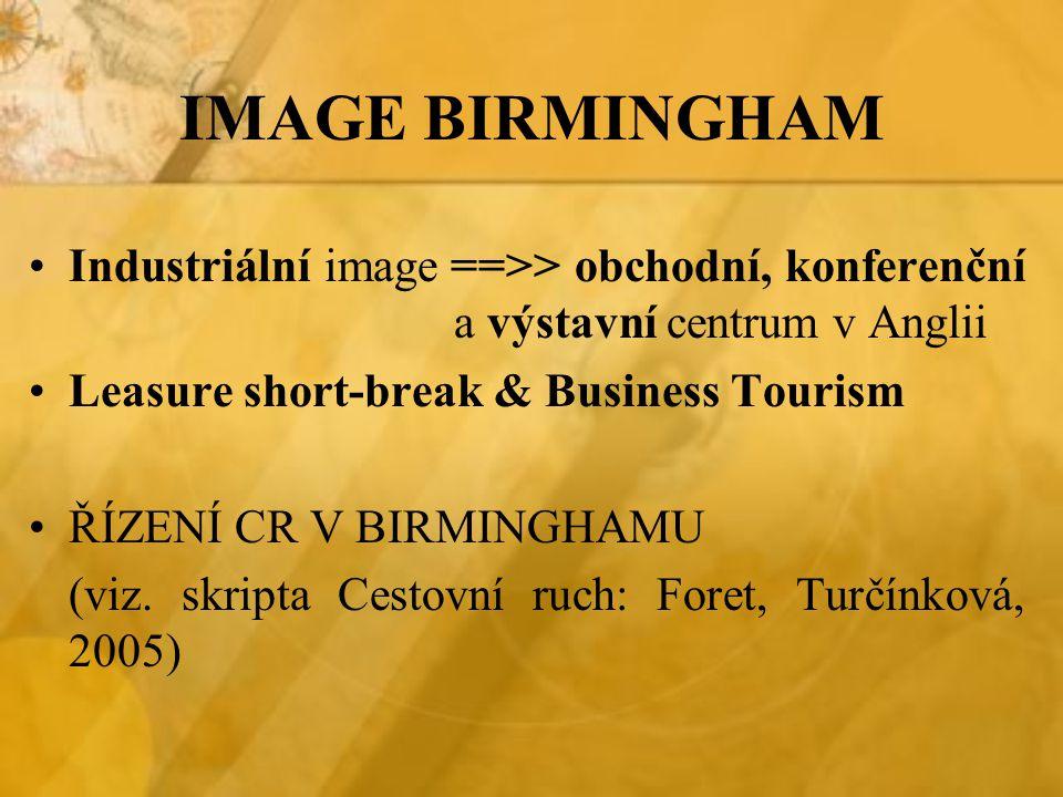 IMAGE BIRMINGHAM Industriální image ==>> obchodní, konferenční a výstavní centrum v Anglii. Leasure short-break & Business Tourism.