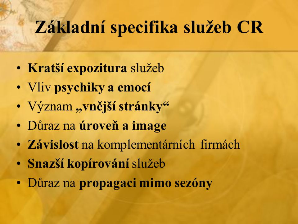 Základní specifika služeb CR