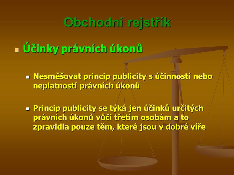 Obchodní rejstřík Účinky právních úkonů