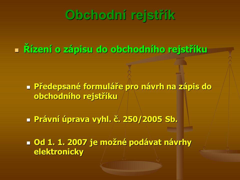 Obchodní rejstřík Řízení o zápisu do obchodního rejstříku