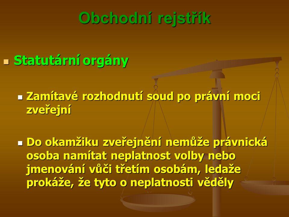 Obchodní rejstřík Statutární orgány