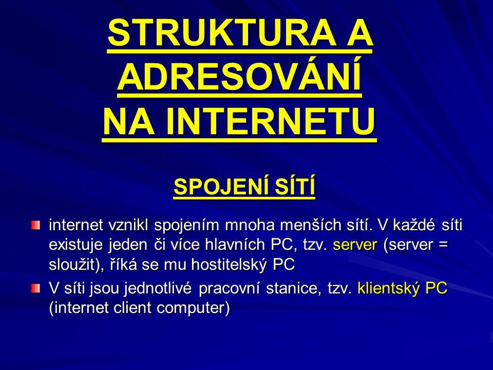 STRUKTURA A ADRESOVÁNÍ NA INTERNETU