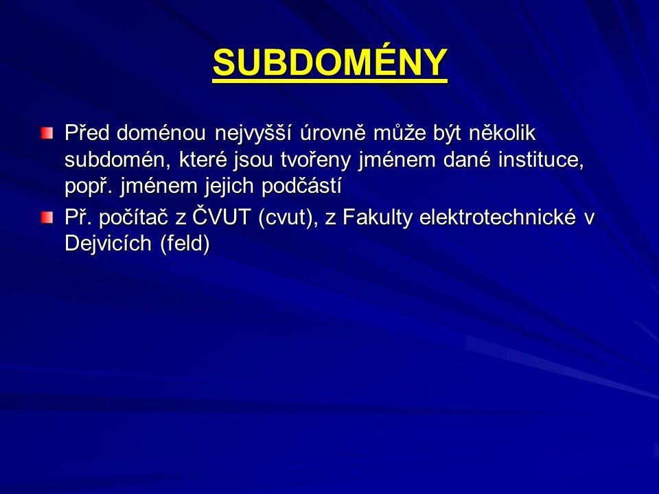 SUBDOMÉNY Před doménou nejvyšší úrovně může být několik subdomén, které jsou tvořeny jménem dané instituce, popř. jménem jejich podčástí.