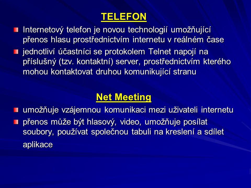 TELEFON Internetový telefon je novou technologií umožňující přenos hlasu prostřednictvím internetu v reálném čase.