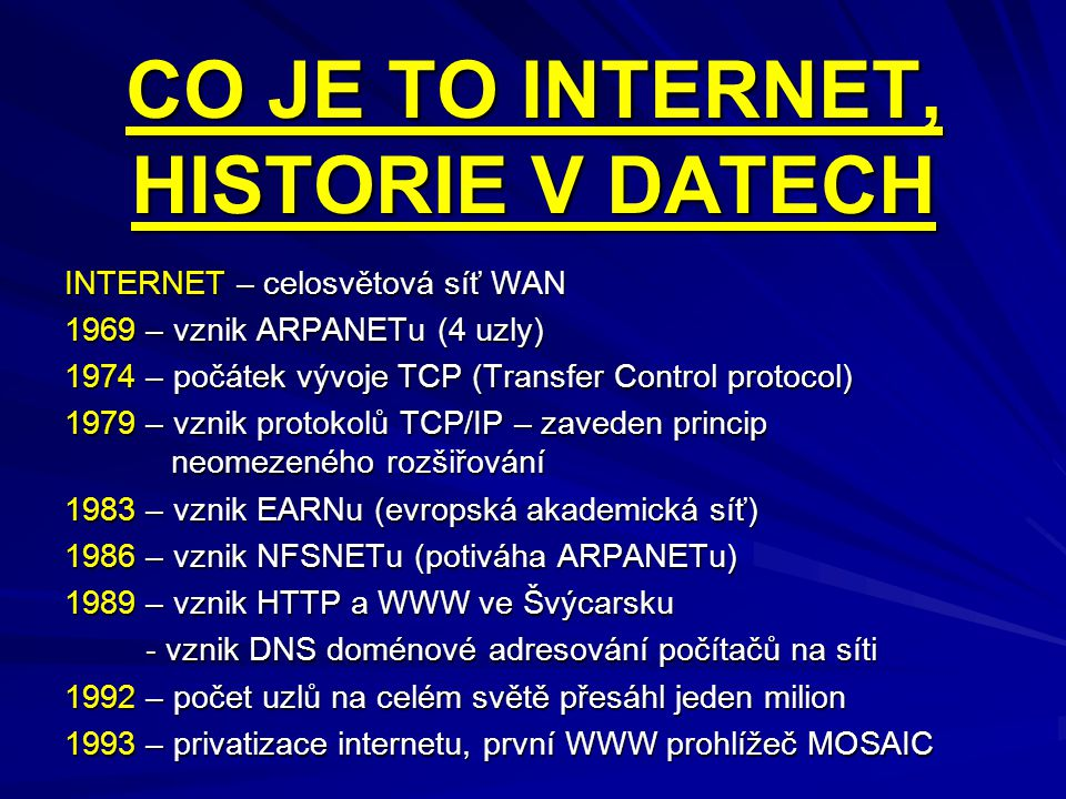 CO JE TO INTERNET, HISTORIE V DATECH