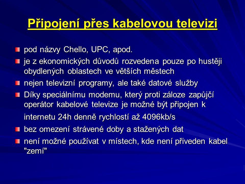 Připojení přes kabelovou televizi
