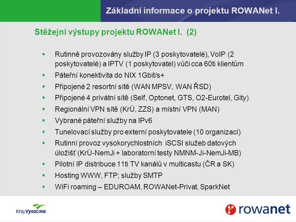 Základní informace o projektu ROWANet I.