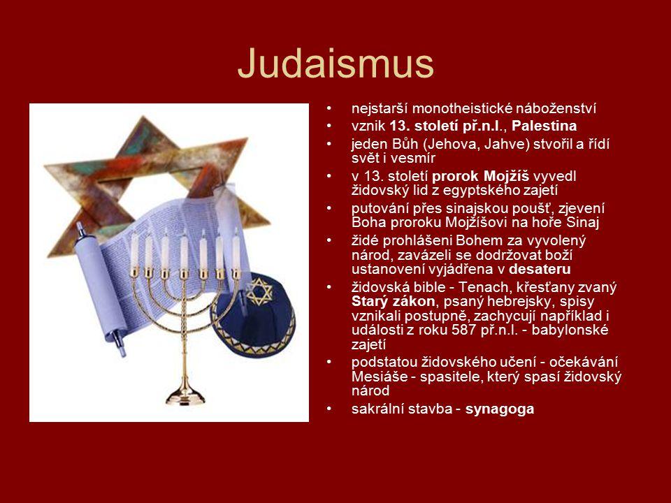 Judaismus nejstarší monotheistické náboženství
