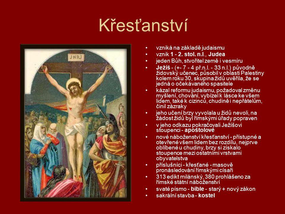 Křesťanství vzniká na základě judaismu vznik 1 - 2. stol. n.l., Judea